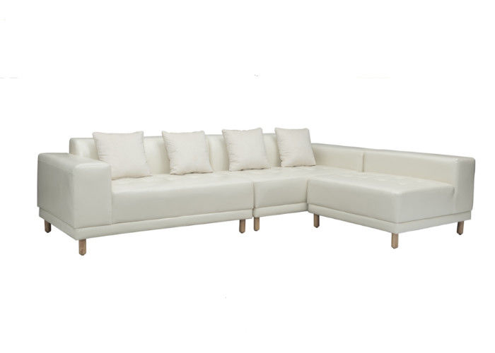 Easy Clean Living Spaces Leather Sofa Foam PVC Solid Wood Legs Simple Style