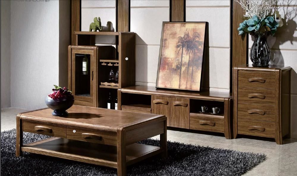 Simple Style Traditional Living Room Furniture / Wall Unit Coffee Table Sets