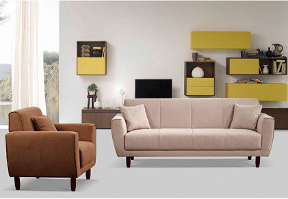 Comfortable Imitated Linen Fabric Sofa / Living Room Furniture Sofa