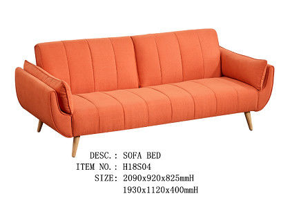 Wooden Frame Functional Sofa Bed Dacron Cashmere - Like Cover Bright Orange Color